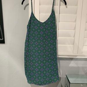 Green & Blue Printed Summer Tank Dress